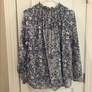 J Crew Blue and White Print Smocked Popover
